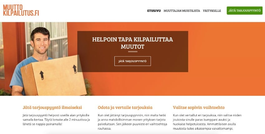 Muuttokilpailutus.fi vertailusivujen kuvakaappaus